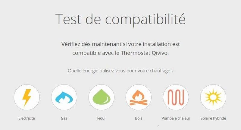 test compatibilité chauffage thermostat qivivo