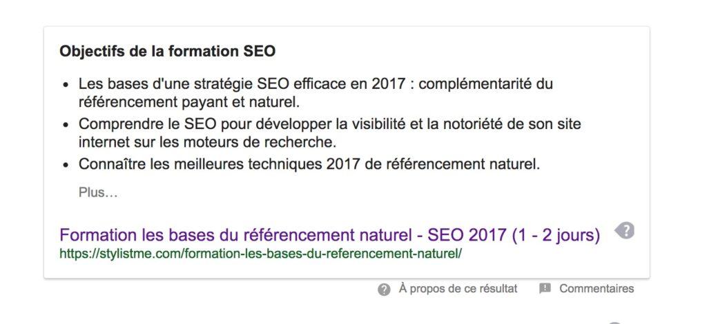position 0 Google formation SEO 2017