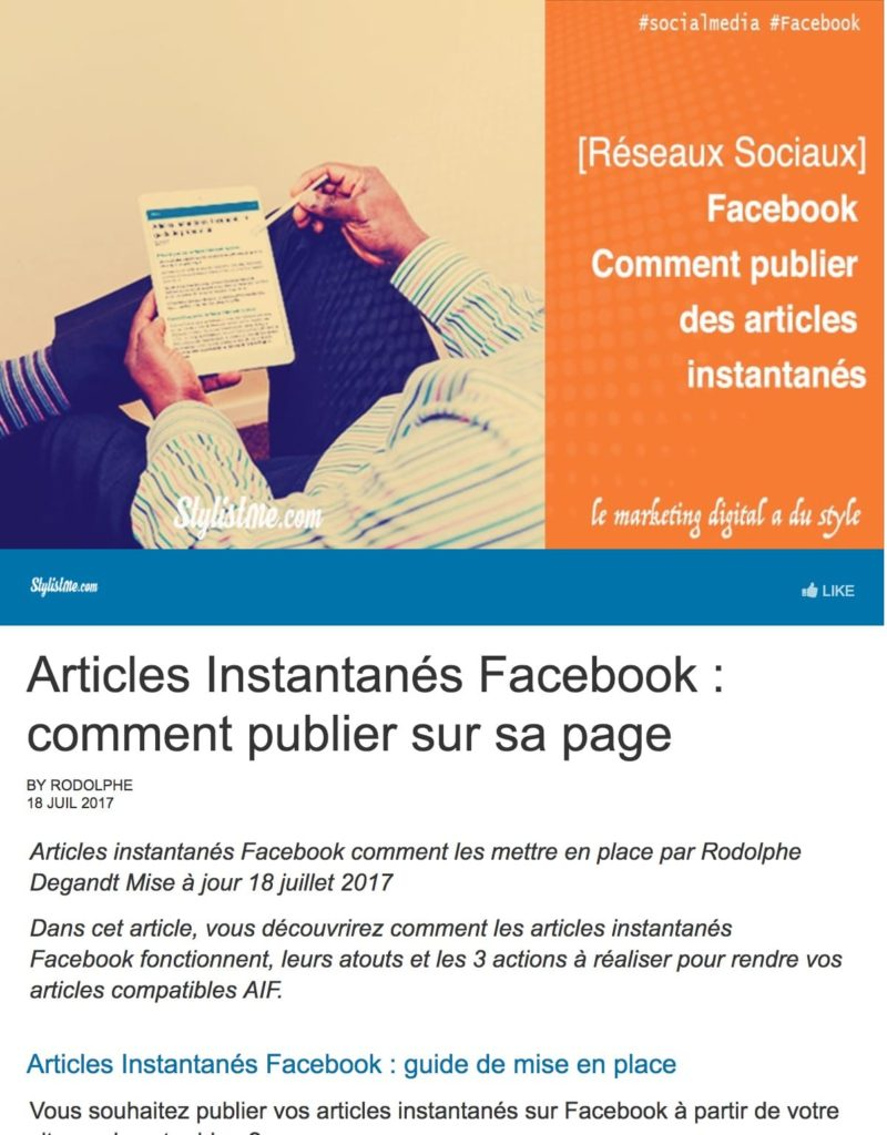 Articles instantanés Facebook visualisation 2