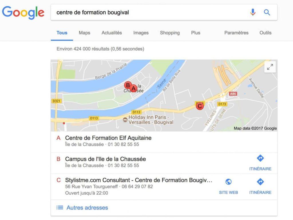 première place sur google my business