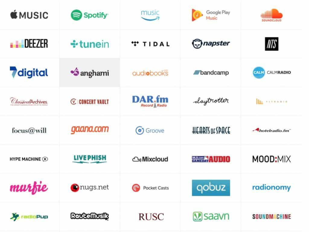 services de musique compatible google home