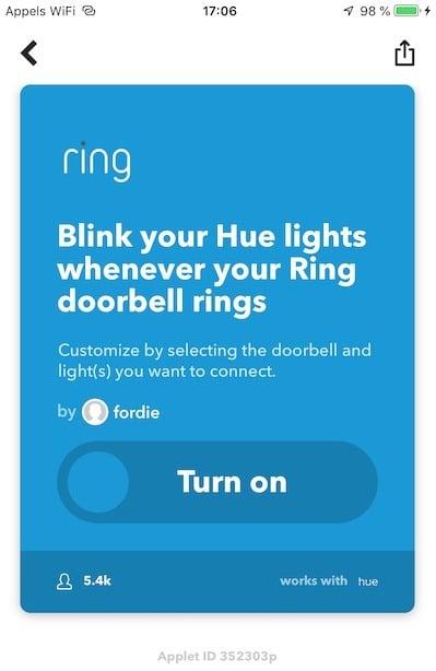 Ring 2 IFFTTT Philips Hue
