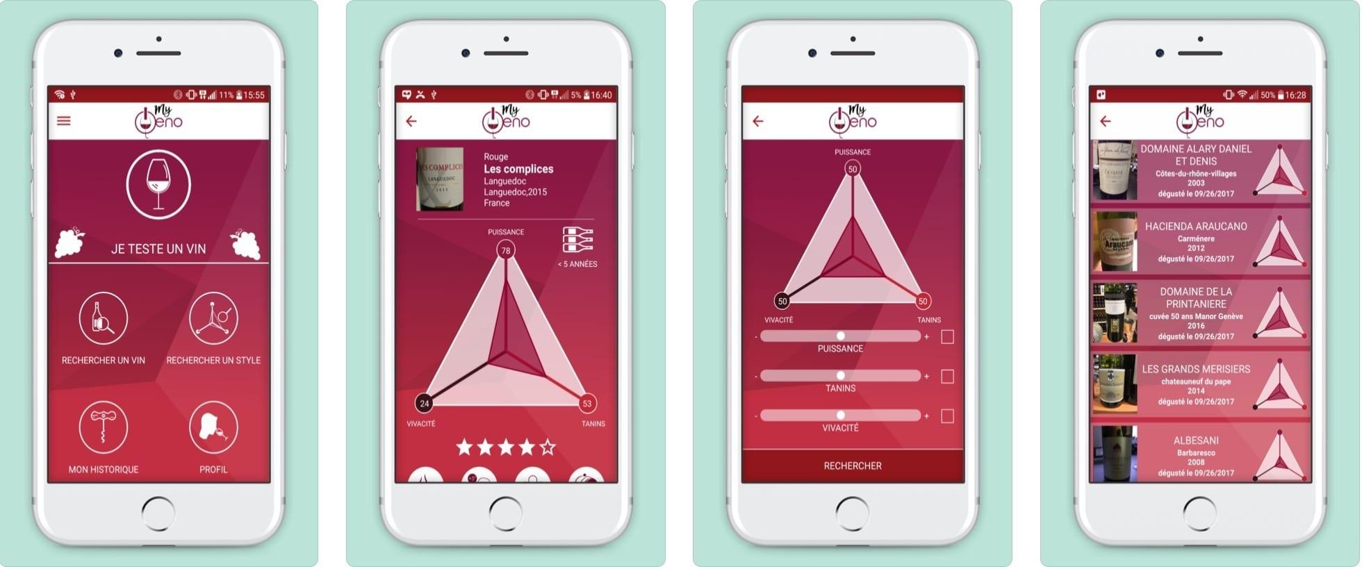 my oeno app mobile analyse de vin