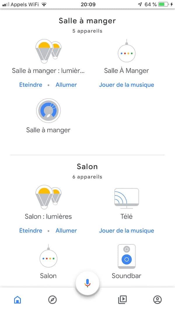app google home gestion des pièces
