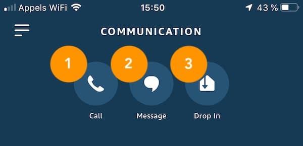 téléphoner envoyer un message interphone avec Alexa