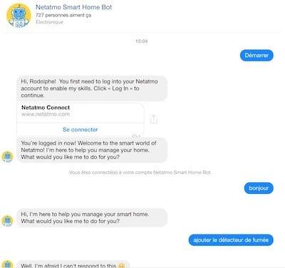 chatbot netatmo détecteur de fumée connecté