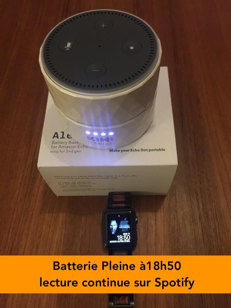 Batterie Amazon Echo Dot 2 autonome Kiwi Design test durée