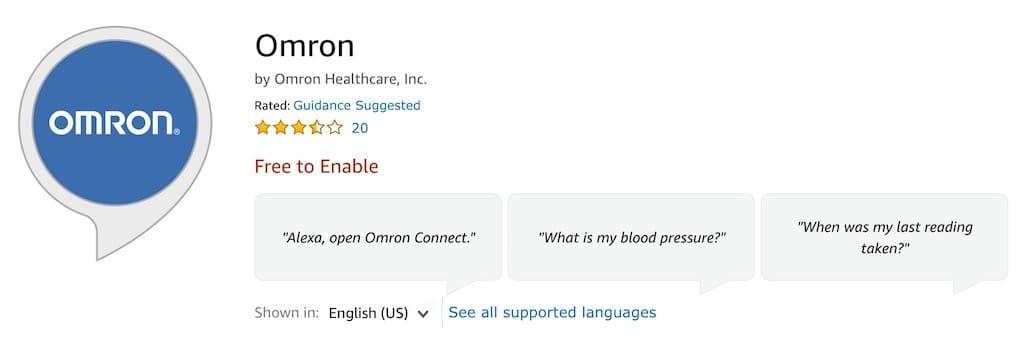 Omron tensiomètre connecté utilisable avec Alexa ou smartphone skill Omron