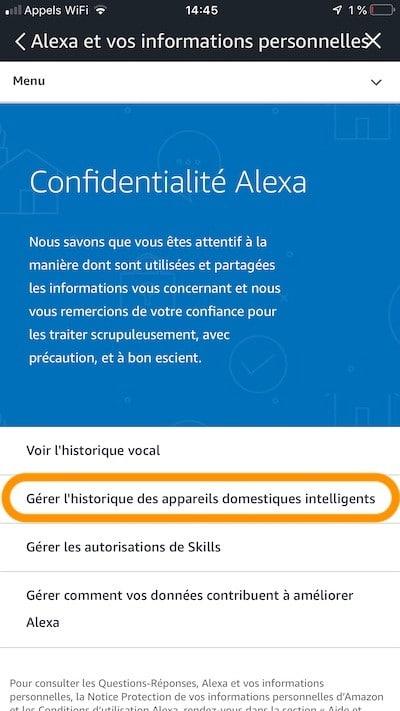 Alexa supprimer historique enregistrement
