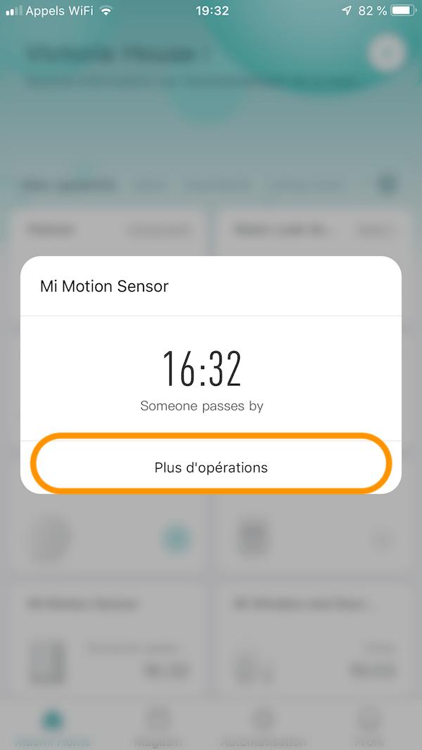 mi motion sensor alerte smartphone