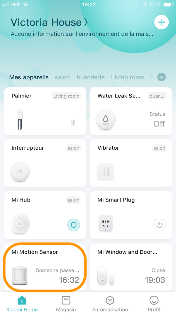 mi motion sensor app Xiaomi Home