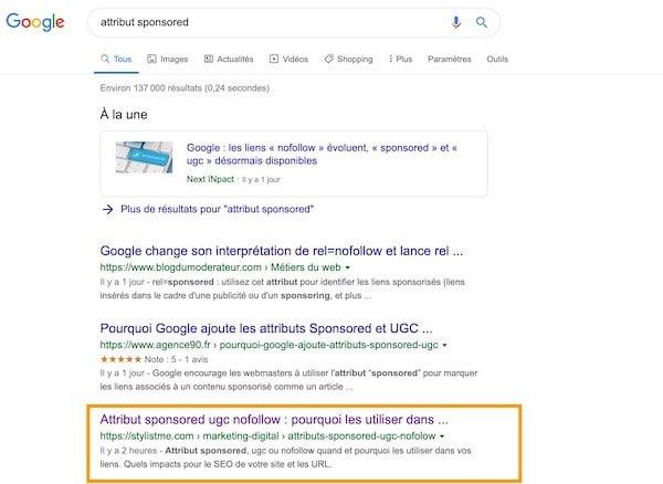 impact seo attribut sponsored ugc