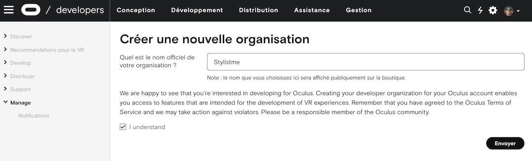 créer un compte développeur Oculus