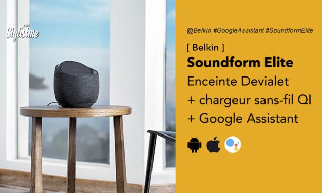 Soundform Elite avis prix test de l'enceinte Devialet avec chargeur sans-fil de Belkin