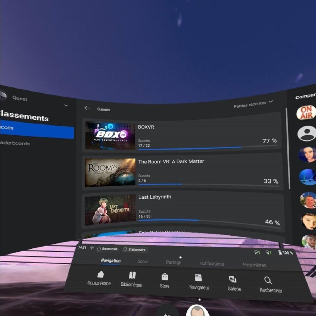 Oculus Quest V15 nouveautés classements