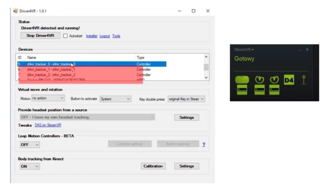 paramétrages Driver4vr Kinect 360
