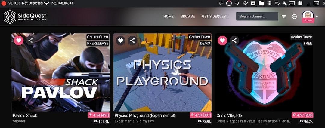 SIdeQuest X mise à jour meilleur jeux VR