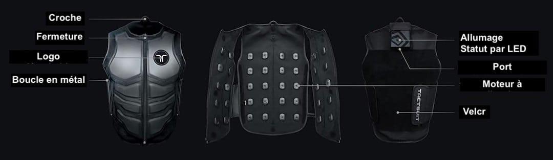 accessoire oculus : veste à retour de force jeu vidéo bHaptics