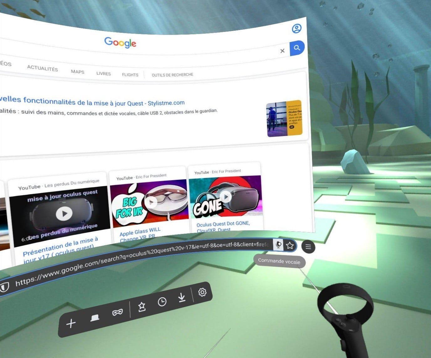 Commandes vocales Oculus Quest