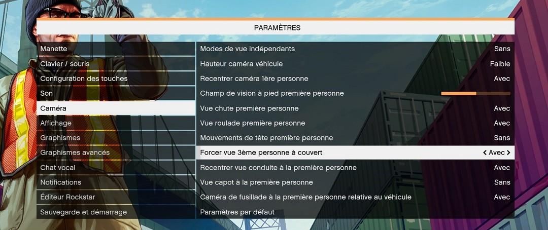 GTA 5 VR réglages paramètres du jeu caméra
