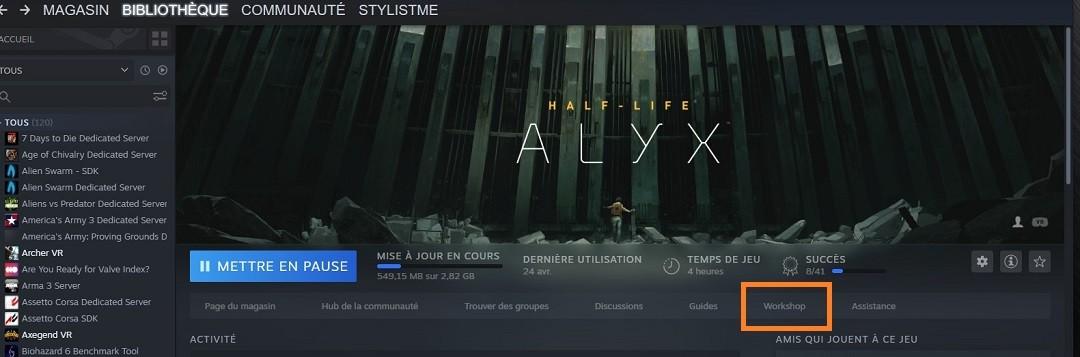 Mods et cartes avec Steam Workshop Half Life ALyx