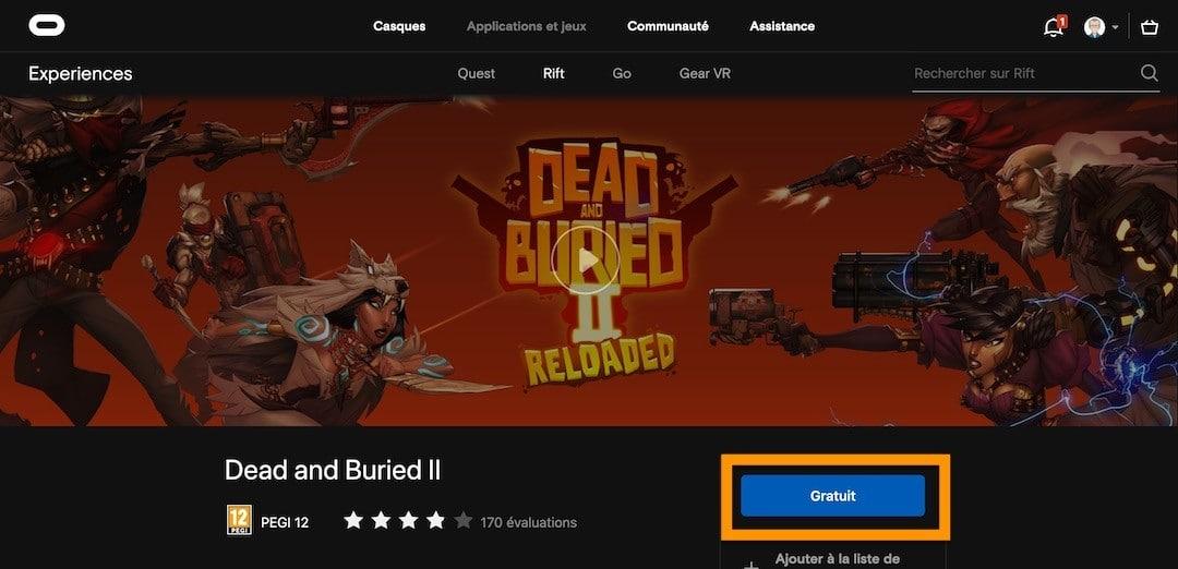 Comment récupérer version jeu Rift crossbuy sur Quest
