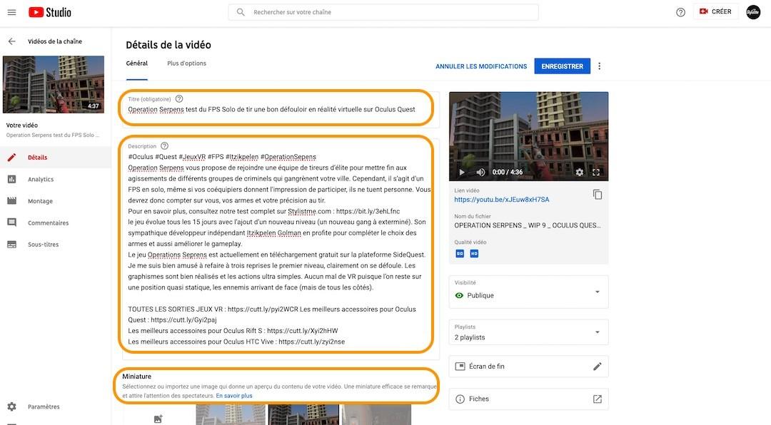 Optimiser les détails d'une vidéo YouTube pour référencement Google