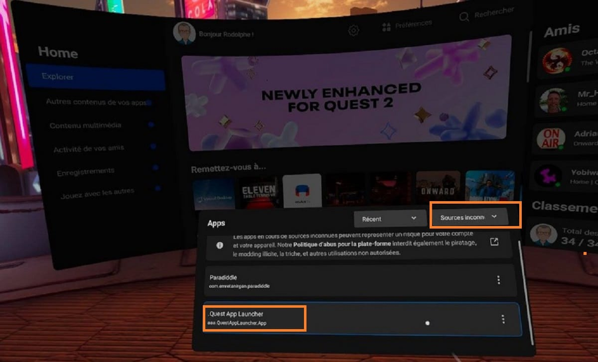 sources inconnues SideQuest Oculus Quest 2