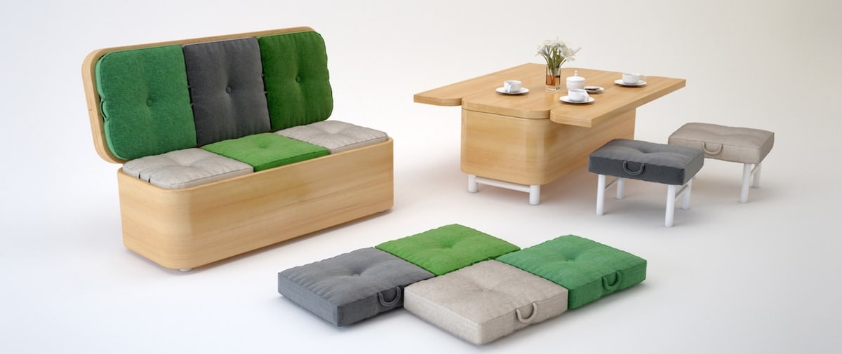 meuble intelligent sofa transformable table