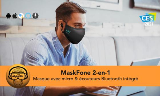 MaskFone masque COVID avec écouteurs Bluetooth intégrés [CES 2021]