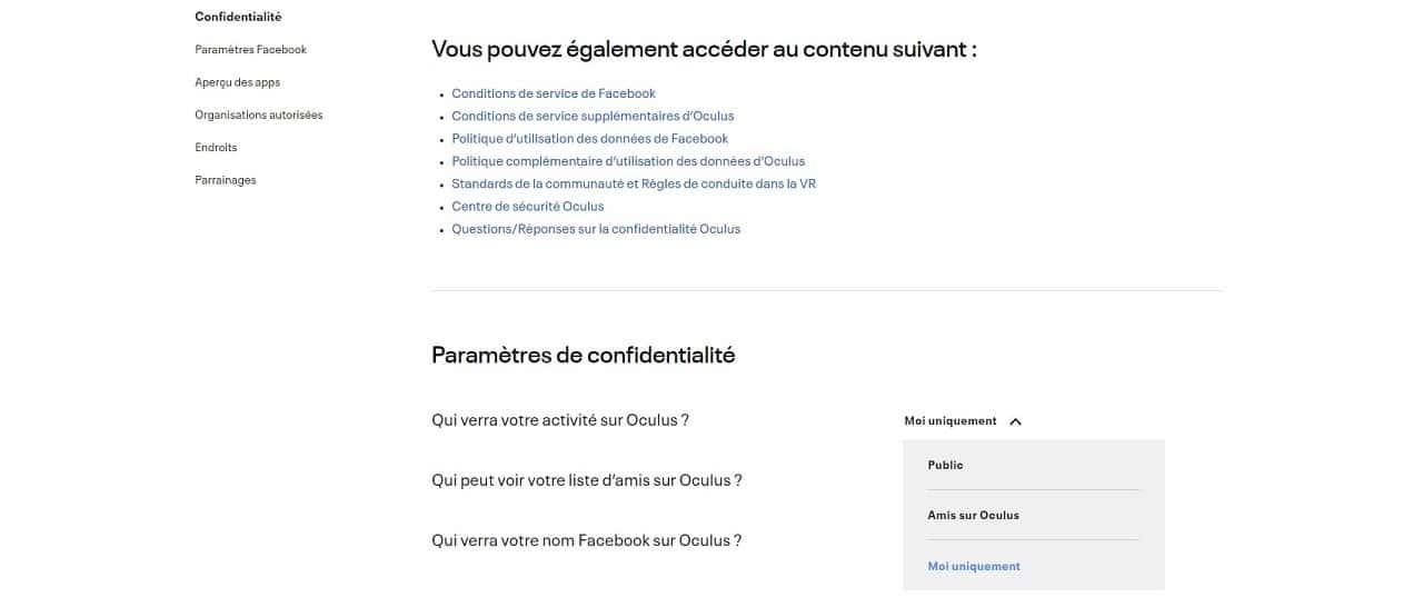 Messenger VR régler les paramètres de confidentialité Oculus