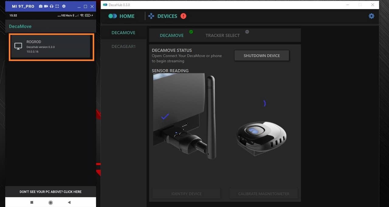 Connexion PC avec App DecaMove