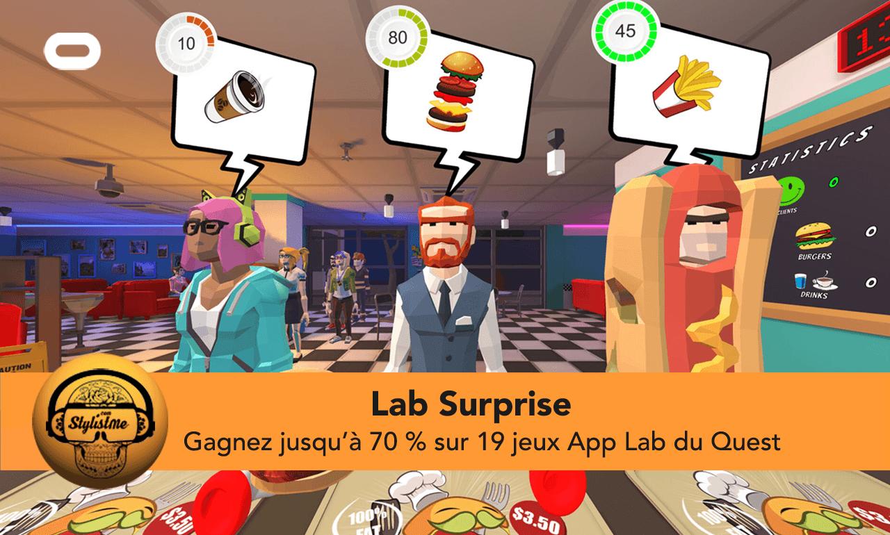 Lab Surprise réduction jeux Quest