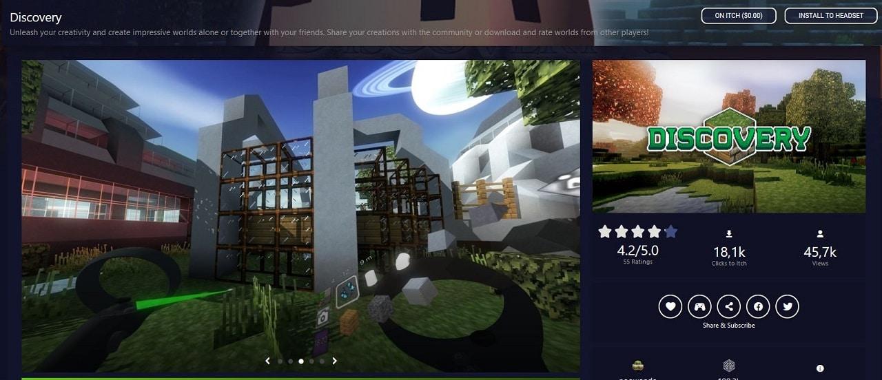 Discovery un Minecraft like pour Quest 2 gratuitJPG