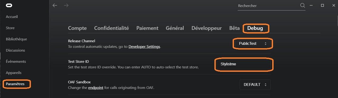 Menu Debug App Oculus PC