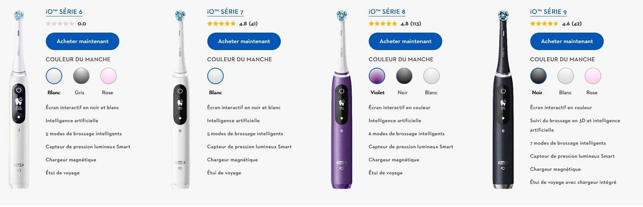 Oral B iO série 6 7 8 9 prix