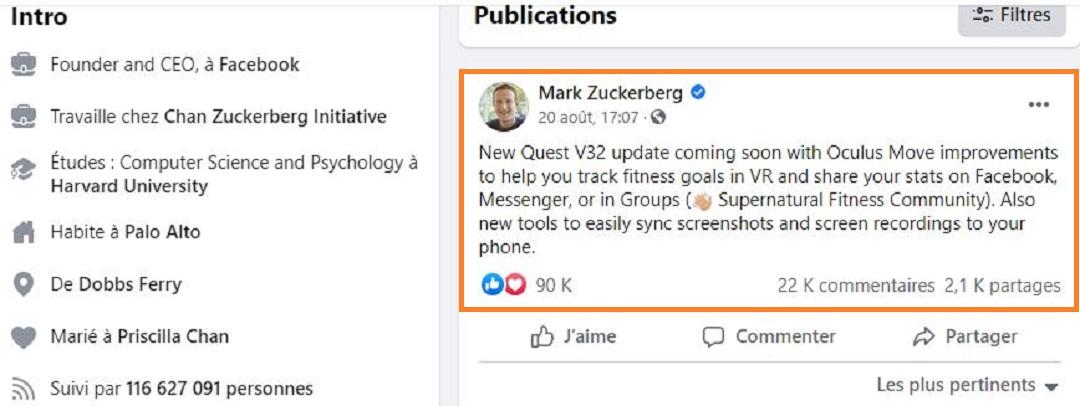 Oculus V32 annonce Mark Zuckerberg Facebook