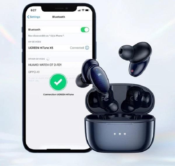 Ugreen X5 test écouteurs Bluetooth 5.2 connexion